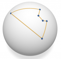 Spherical pseudo-quadrilateral
