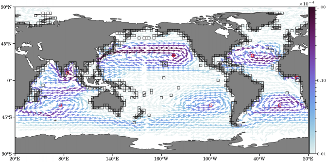 Effective current of marine debris particles from the coast to several accumulation sites in the ocean.