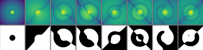 Cuts through the nodal surfaces of wavefunctions for the Lithium atom.